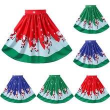 4c93e85b8 Faldas de Navidad mujeres Sexy Navidad Santa impreso rendimiento cremallera  A-Line falda suelta(