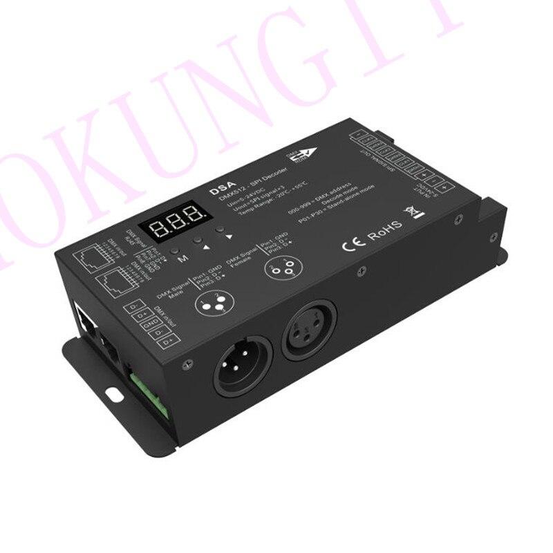 1024 points DMX au convertisseur SPI DSA décodeur d'ingénierie décodeur bande LED couleur complet DMX SPI décodeur unique support WS2811 2812