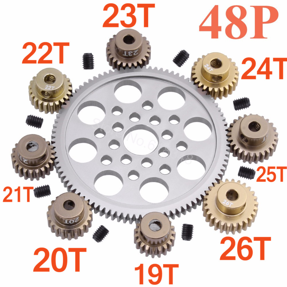 Metal 48P Spur Gear 92T 85T 80T Pinion 19T 20T 21T 22T 23T 24T 25T 26T Motor Gears For Sakura Associated Losi TLR Traxxas AXIAL
