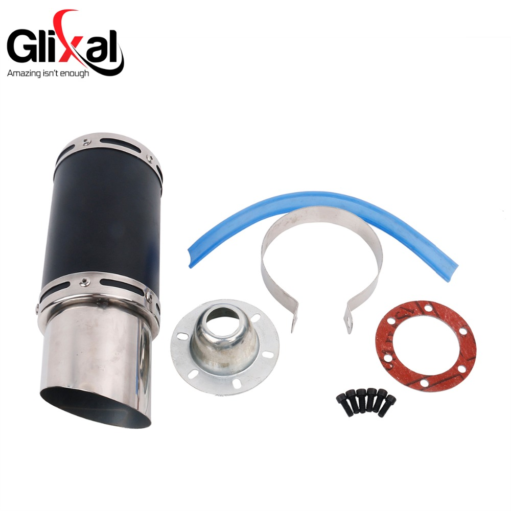 цена на Glixal GY6 50cc 125cc 150cc 7-inch High Performance Racing Exhaust Muffler System 152QMI 157QMJ Scooter Moped ATV Motorcycle