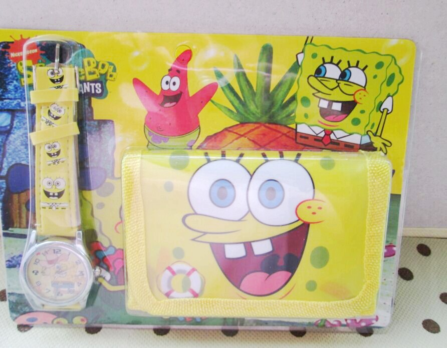 1pcs/lot Spongebob  kids Sets watch and wallet purse wrist quartz Christmas Children gift Cartoon watches 5 pcs lot cartoon anime wallet wholesale nintendo game pocket monster charizard pikachu wallet poke wallet pokemon go billetera