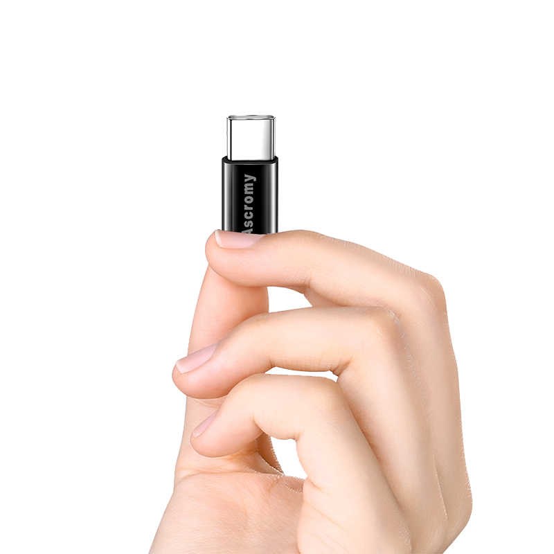 Ascromy USB-C Type-C إلى المصغّر usb محول ل شاومي mi8 سامسونج S8 زائد S9 هواوي P20 برو الشرف 10 oneplus 6 6T نوع C شاحن