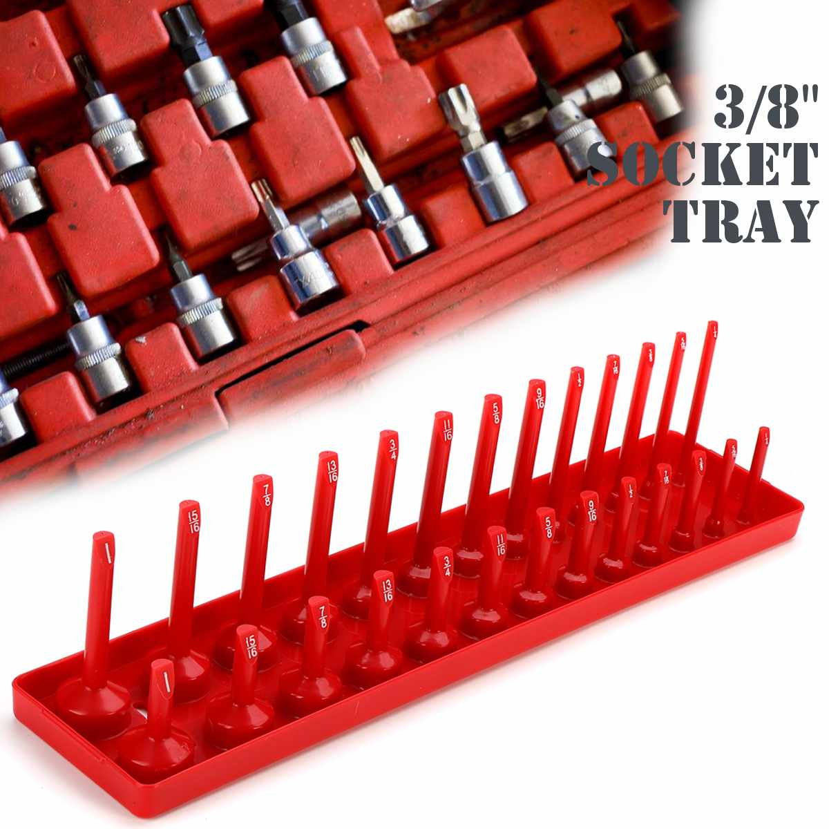 Doersupp 3/8 Sae Deep Standard 26 Sockets Socket Organizer Socket Tray Rack Molded Plastic Tray Hand Tools Hand Tools