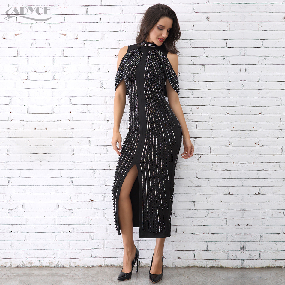 ADYCE Chic Celebrity Evening Party dress 2018 Woman Black White Sleeveless Beaded Dress Turtleneck Sexy Back Splitting Dresses