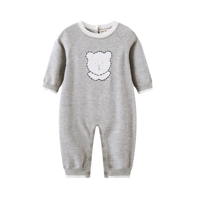 2018 Spring Baby Rompers Baby Boy Knitted Cartoon Bear Long-sleeve Jumpsuit Newborn Baby Girl Clothes Toddler Onesie newborn infant baby tiny cottons funny letter short sleeve bodysuit baby boy girl clothes outfits jumpsuit half wild baby onesie