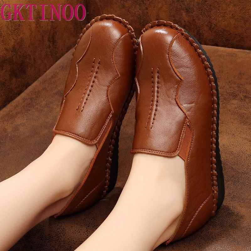 Handmade Shoes Woman 2019 Leather Women Shoes Flats 3 Colors Loafers Slip On Women's Flat Shoes Moccasins