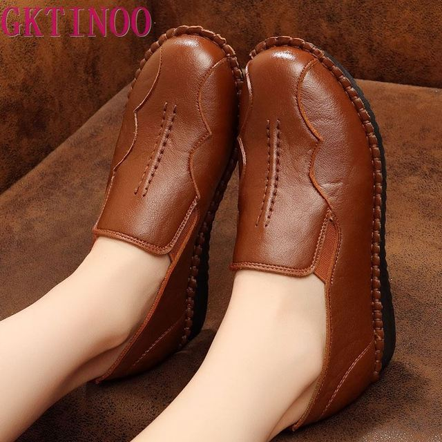 Handmade Shoes Woman 2020 Leather Women Shoes Flats 3 Colors Loafers Slip On Womens Flat Shoes Moccasins