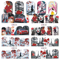 1 Hoja Nail Art Wraps Pegatina Colorido Romántico Diseño de La Cubierta Completa de Transferencia de Agua Marca de Agua Punta Para Nail Art Decoration BN373-384