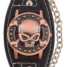 Schädel Abdeckung Uhr Männer Frauen Mode Quarz Armbanduhr Leder Armband Uhr Biker Metall relogio Kühle Günstige Kreative Kette