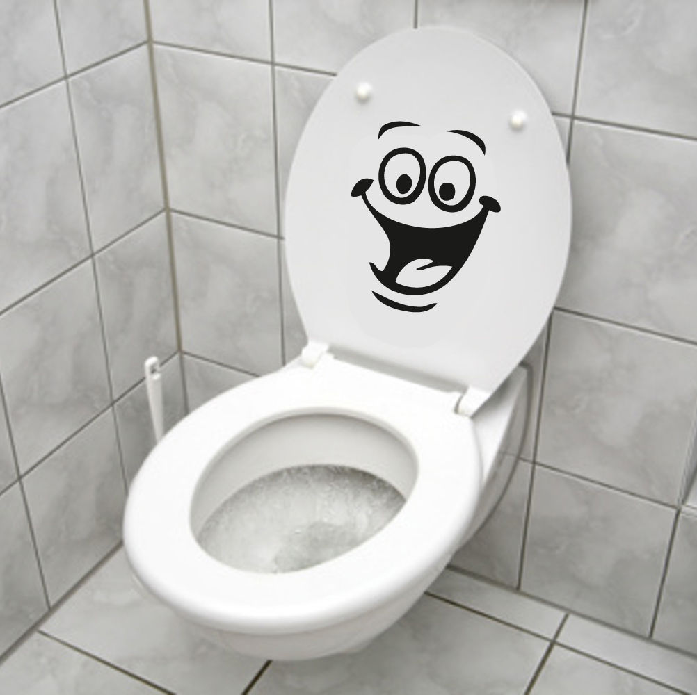 D505 smiley face wc toilet fridge decal wall mural art for Decoration toilette