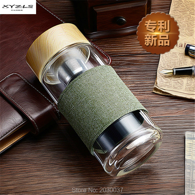2016 new fashion 400ml with lid glass watter bottle direct drinking glass Bottle for business men and women