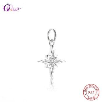 71b6a2651f7c Venta caliente Micro incrustaciones encantos de Plata de Ley 925 colgante  de estrella para collar pulsera DIY mujeres circón cúbico CZ colgante