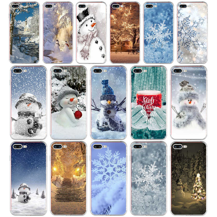 241H Animated Winter snowman snow Soft TPU Silicone Cover Case For Apple iPhone  6 6s 7 8 plus Case