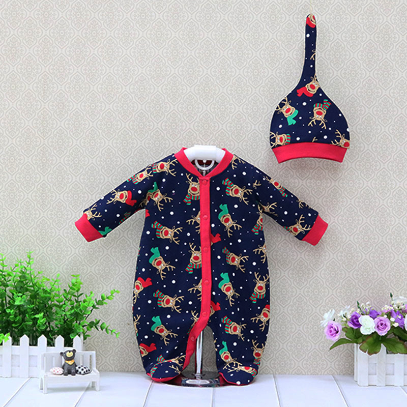 Newborn romper cotton baby clothing boys rompers+hat 2 pieces/set long-sleeved  christmas kids pajamas toddler clothes baby rompers love mama papa boys girls babies clothes newbron cotton clothing with hat one pieces body suit