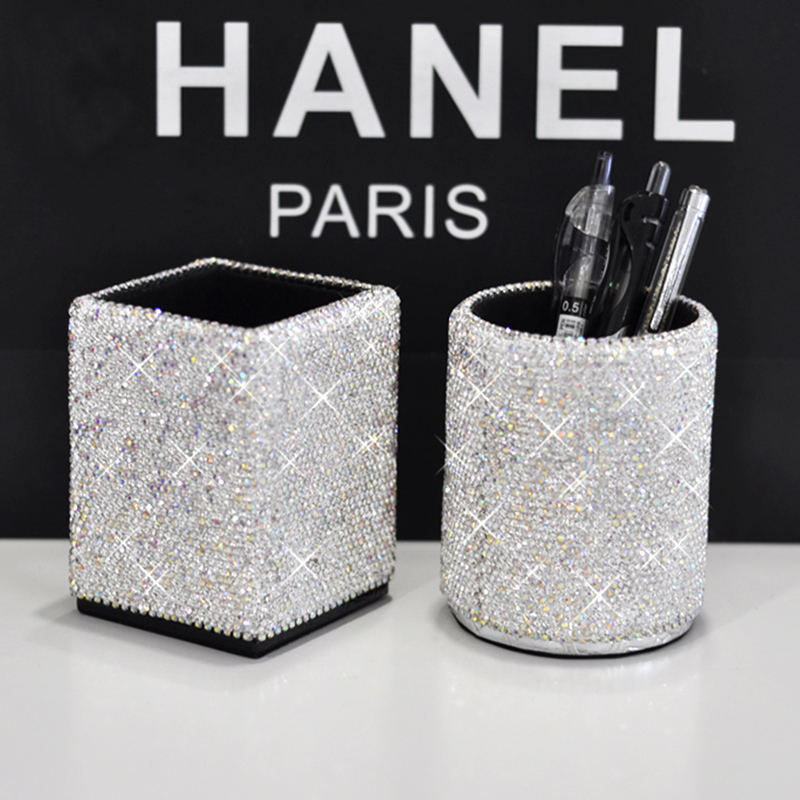 New Luxury Rhinestone Makeup Tools Storage Box Handmade Full Diamond Office Stationery Pen Holder Brush Holder