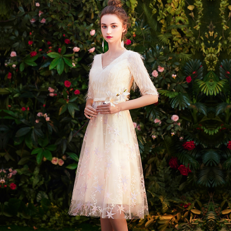 wei yin 2019 Lace   Cocktail     Dresses   Elegant V-neck High Waist Knee Length Fashionable Affordable Party   Dresses   for Women WY1587