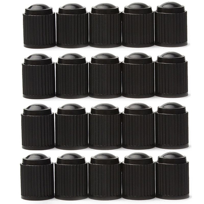 20 Pcs Plastic Dust Valve Caps Bike Car Wheel Tyre Air Valve Stem Caps Motorcycle Tyre Air Valve Caps Car Accessories Black