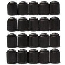 20 قطعة البلاستيك الغبار صمام قبعات الدراجة سيارة إطار العجلات صمام الهواء الجذعية قبعات إطار الدراجات البخارية صمام الهواء قبعات اكسسوارات السيارات الأسود
