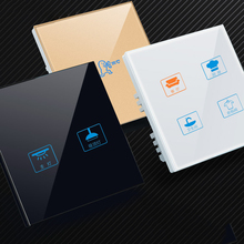 Own design Stanard Touch Switch White Crystal Glass Panel 1 Gang 1 Way Touch EUSwitch Light Wall Touch Screen Switch,AC170-250V