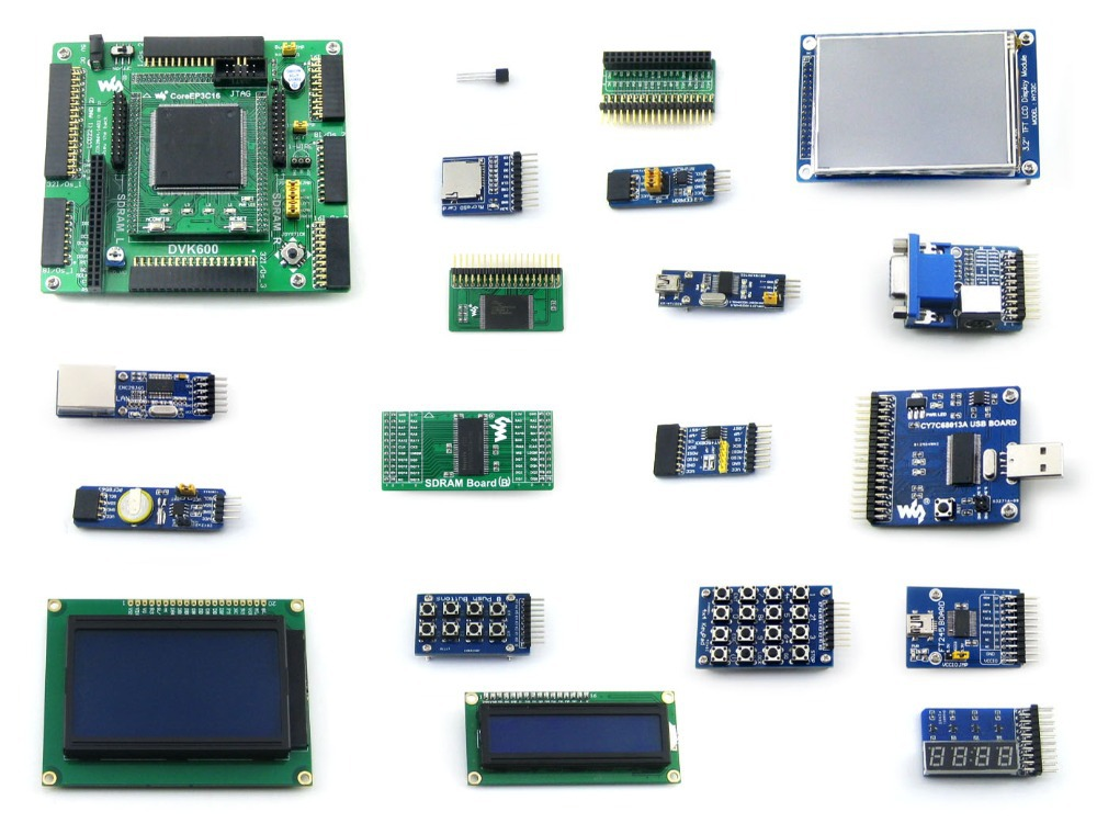 Parts Altera Cyclone Board EP3C16 EP3C16Q240C8N ALTERA Cyclone III FPGA Development Board +19 Accessory Module Kits Support JTAG e10 free shipping altera fpga board altera board fpga development board ep4ce10e22c8n