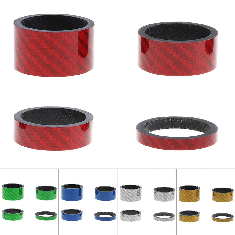 4Pcs/lot 5/10/15/20mm Carbon Bike Fork Headset Stem Spacer MTB 28.6mm Fork Washer Cap For Road/ Mountain Bicycle