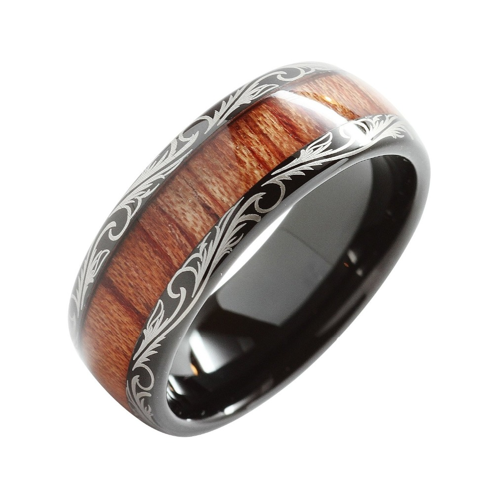 8mm Black Slivering Tungsten Carbide Ring Koa Wood Inlay Dome Matching Wedding Bands Anniversary Men's Jewelry: Wooden Inlay Wedding Band At Websimilar.org