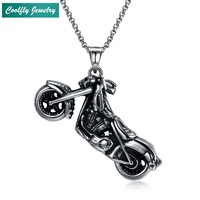 Vintage Stainless Steel Motorcycle Pendant Necklaces For Men Viking Antique Silver Plated USA Soldier Cool Jewelry