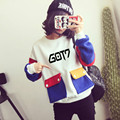 GOT7 KPOP 2016spring Korean version Women Mixed colors Cotton Plus velvet Shirt Letters printed Hedging Loose pocket Sweatshirts