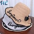 Женщины Письмо Дизайн Пляж Летние Бумаги Соломенная Шлема Ведра Boonie Шляпы Рыбак, Вс Шляпы Рыбалка Ведро Hat Cap девушка