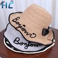 Mujeres Carta Diseño de la Playa Del Verano de Paja de Papel Sombrero Del Cubo de Boonie Sombreros de Pescador, Sombreros para el Sol Sombrero Del Cubo de Pesca Cap Para chica