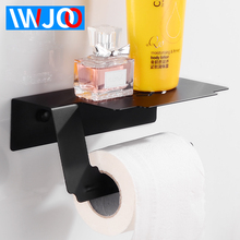 купить Black Toilet Paper Holder wiih Shelf Creative Bathroom Roll Paper Holder Stainless Steel Paper Towel Holder Rack Wall Mounted по цене 1154.97 рублей