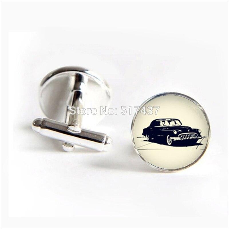 3 pairs2018 Old Car Cufflinks Bubble Car Cuff link Old Car Cufflink Silver Black Round Cufflinks