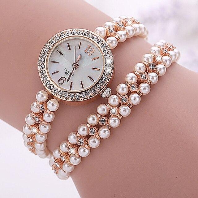 e751b4ebce80a Marque de mode montre à Quartz femmes perle Bracelet montre or femmes  montres dames bijoux montres