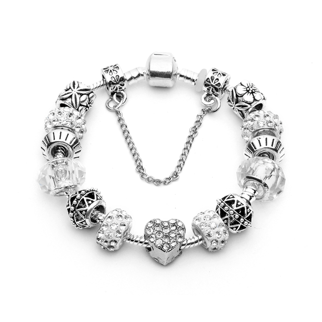 2017 New Silver Plated Love Heart Crystal Charm Bracelets For Women Fashion DIY Pan Bracelets Jewelry Bransoletki Damskie