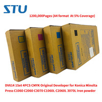 Conjunto DV614 1200 000 Páginas 1 4 PCS CMYK Original Desenvolvedor para Konica Minolta Imprensa C1060 C2060 C3070 C1060L C2060L 3070L pó de ferro Pó p/ toner     -