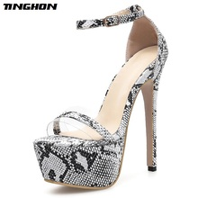 TINGHON Sexy Women Sandals Shoes Sexy Snake Print Stiletto Super 16cm High Heels Summer Platform ankle-strap Sandals Size 35-40 цена и фото