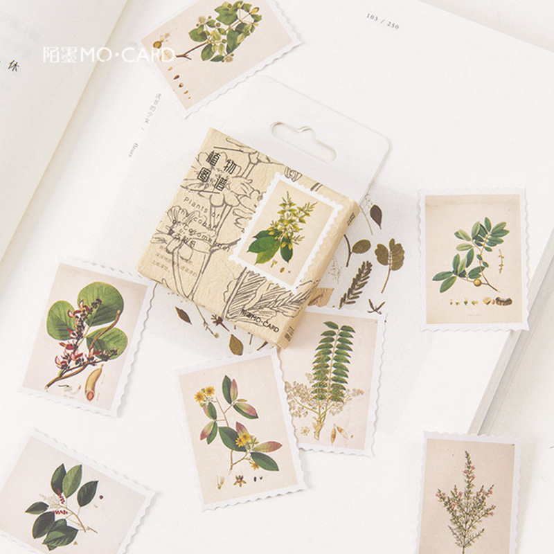 45 Pcs/ Box Vintage Plants Stamp Mini Paper Sticker Decoration DIY Diary Scrapbooking Seal Sticker Kawaii Stationery
