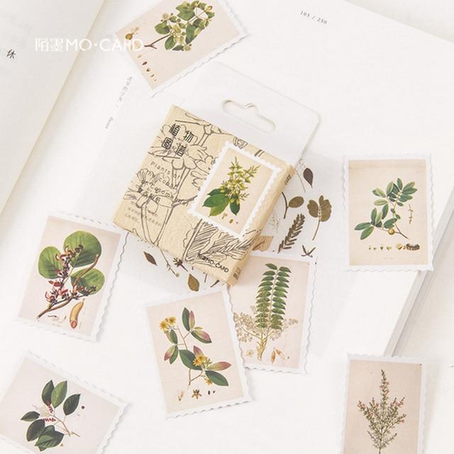 45 unids/caja Vintage plantas sello mini papel pegatina decoración DIY diario scrapbooking sello pegatina kawaii papelería