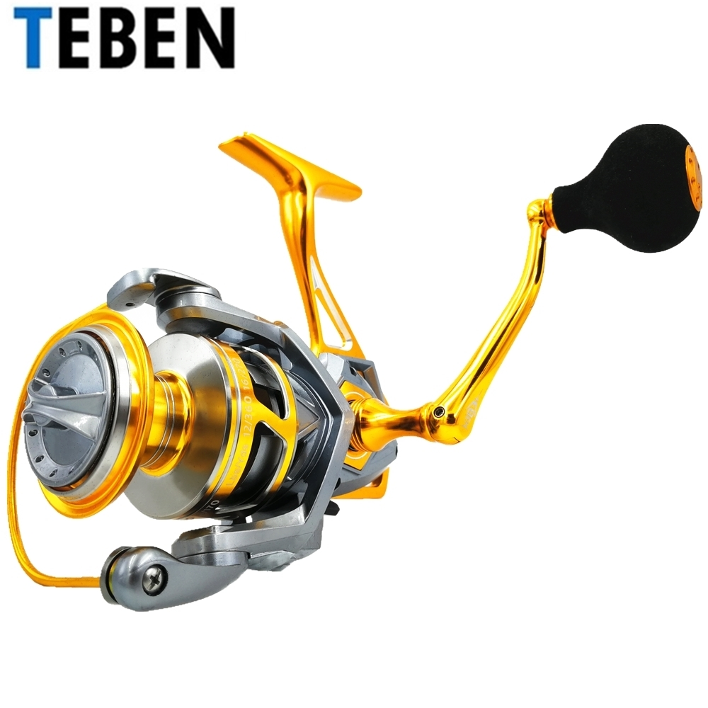 TEBEN Metal Saltwater Boat Fishing Reel 10BB Speed Ratio 5.2:1 Drag Power 20kg 3000-6000 Waterproof Carp Spinning Reel