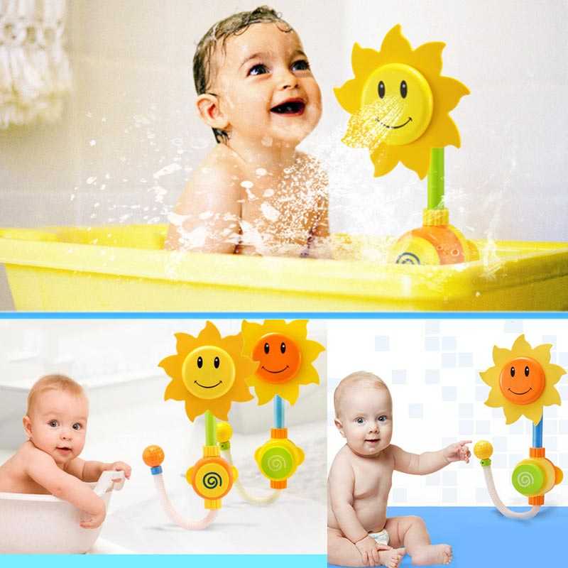 Water Shower Spraying Tool Sunflower Baby Bath Toys Bathing Tub Fountain Toy Kids Gifts -17 S7JN