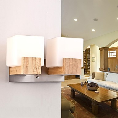 Oak Modern LED Wall Light Lamp With 2 Lights For Living Room Bedroom, Wall Sconce Free Shipping