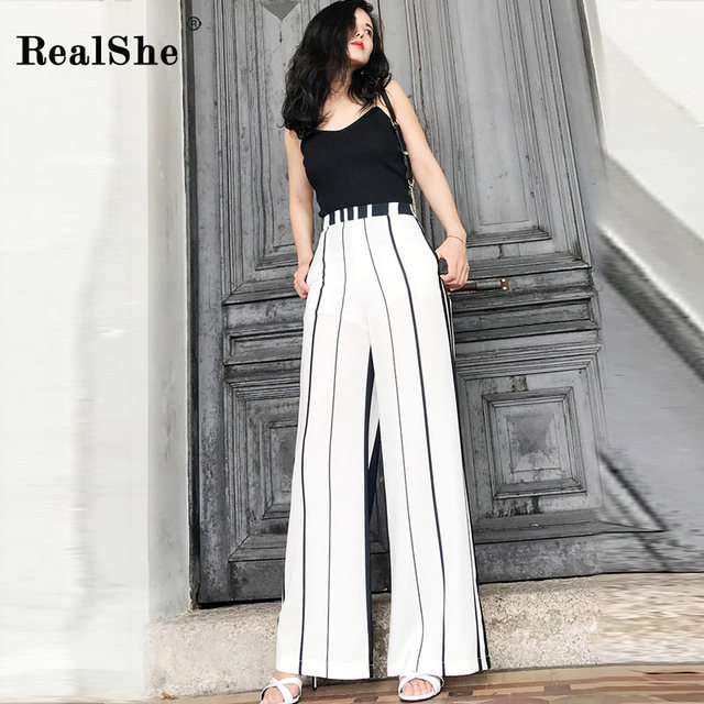 RealShe 2018 New Fashion Spring High Waist Wide Leg Pants Women Striped Zipper Trousers Elegant Casual Loose Bottom Pants