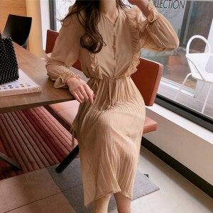 Image 2 - BGTEEVER خمر س الرقبة الكشكشة الشيفون المرأة فستان مضيئة كم البولكا نقطة الدانتيل يصل فستان طبقتين مطوي Vestidos