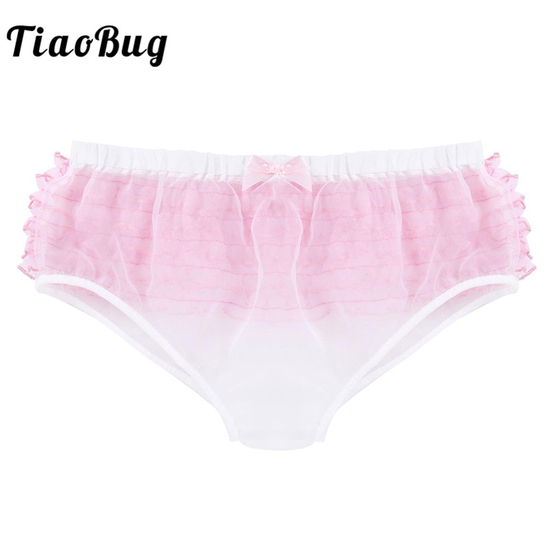 TiaoBug White Mens Lingerie Frilly Ruffle Lace Trim See Through Organza Sissy Briefs Sexy Men Underwear Gay Panties Underpants