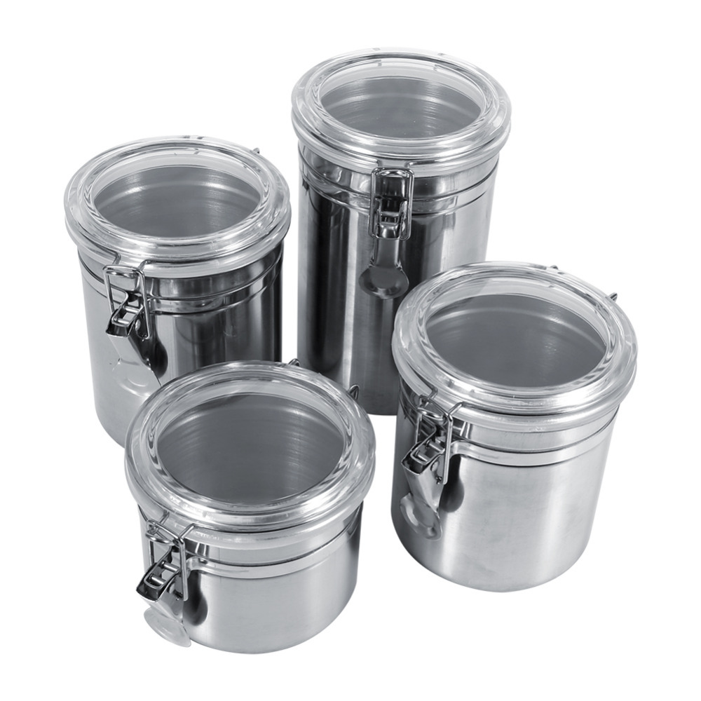 Stainless steel storage containers for kitchen - 4 Sizes Stainless Steel Storage Container Bottle Sugar Tea Coffee Beans Canister For Kitchen Container Box In Bottles Jars Boxes From Home Garden On
