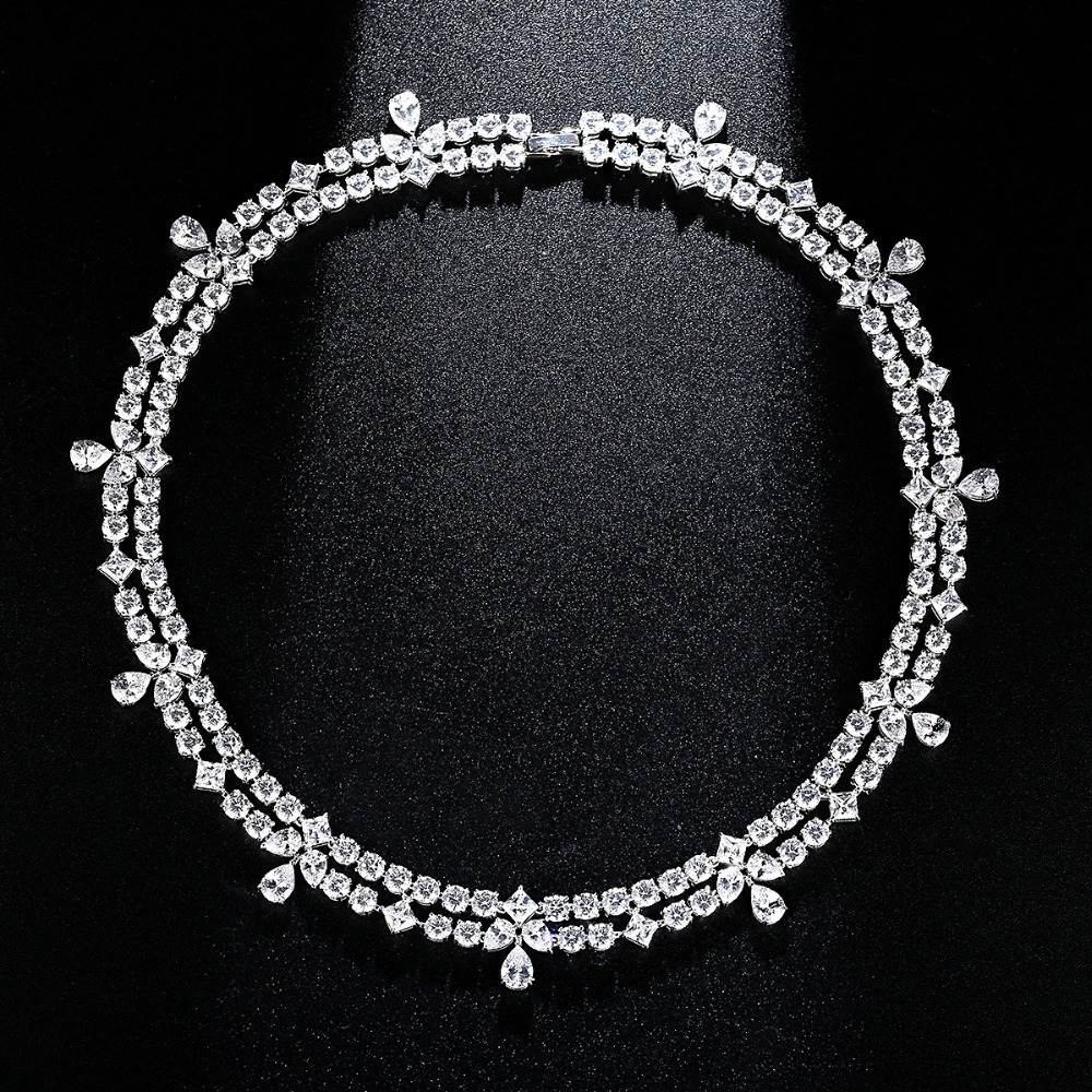Image 4 - LUOTEEMI New Luxuries Delicate Wedding Jewelry Bridal Necklace  Flower Round Square Waterdrop Crystal Statement Bridesmaid  Chokernecklace flowerstatement chokercrystal choker