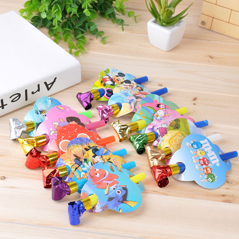 6 Pcs Colorful cartoon Funny Whistles Kids Childrens Birthday Party Dots Blowing Dragon Blowout Baby Birthday Supplies Toys gift