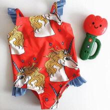 Child Kids Baby Girls Unicorn Ruffled One Piece Bikini Swimsuit Swimwear Beachwear Bathing Suit