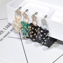 Женские длинные серьги кисточки с кристаллами