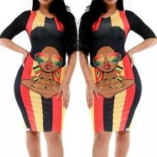 African Woman Dress Cartoon Print Avatar Five-point Sleeve